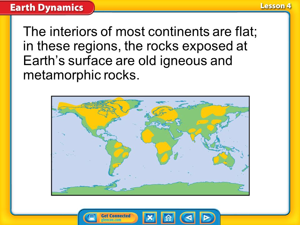 The interiors of most continents are flat; in these regions, the rocks exposed at Earth's surface are old igneous and metamorphic rocks.
