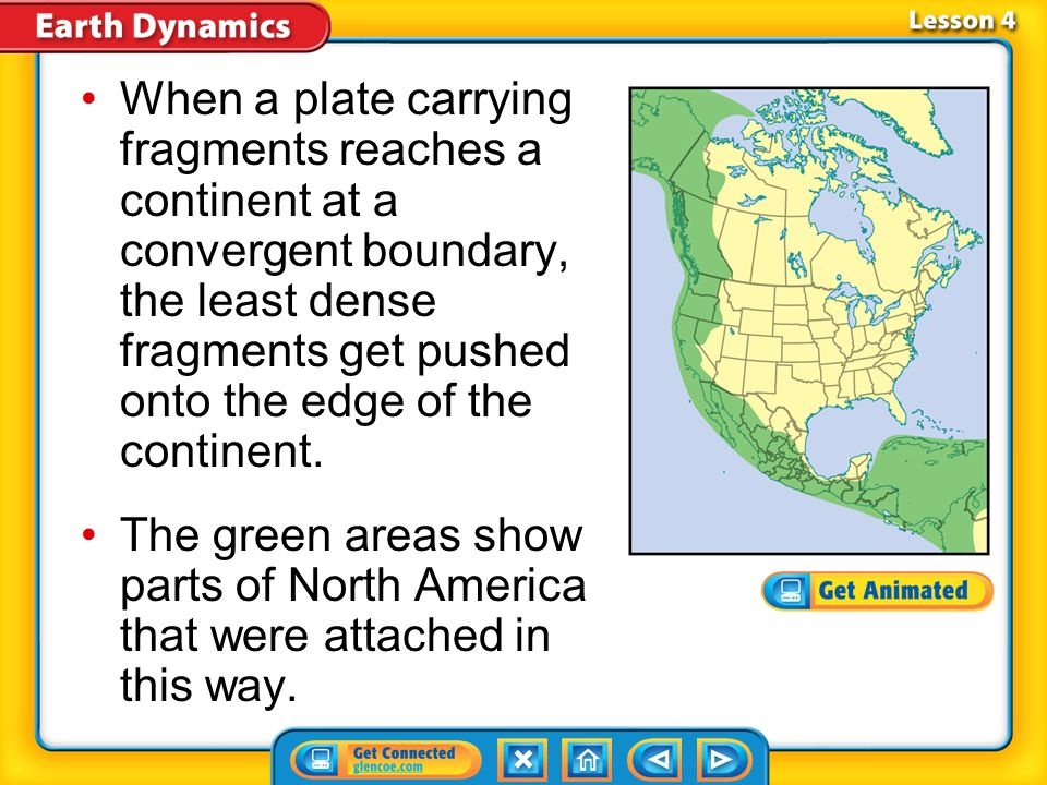 When a plate carrying fragments reaches a continent at a convergent boundary, the least dense fragments get pushed onto the edge of the continent.