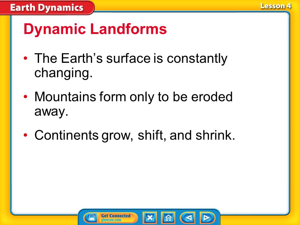 Dynamic Landforms The Earth's surface is constantly changing.