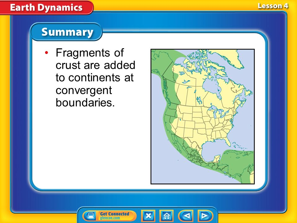 Fragments of crust are added to continents at convergent boundaries.