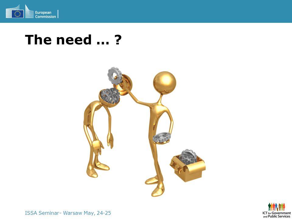 The need … ISSA Seminar- Warsaw May, 24-25