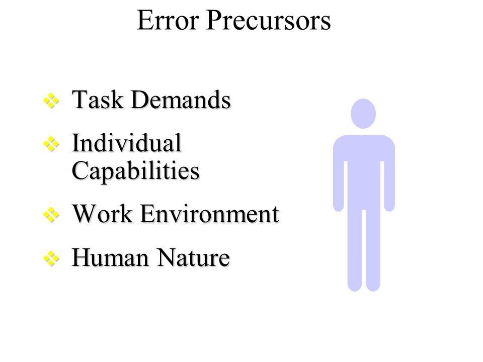 human error vs capability Human factors psychology focuses on maximizing human capabilities and  explores topics including ergonomics, workplace safety, and product.