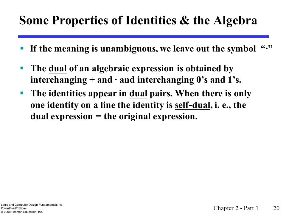 Some Properties of Identities & the Algebra