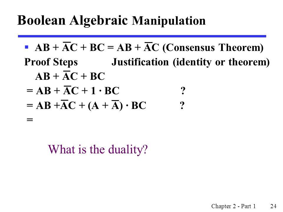 Boolean Algebraic Manipulation