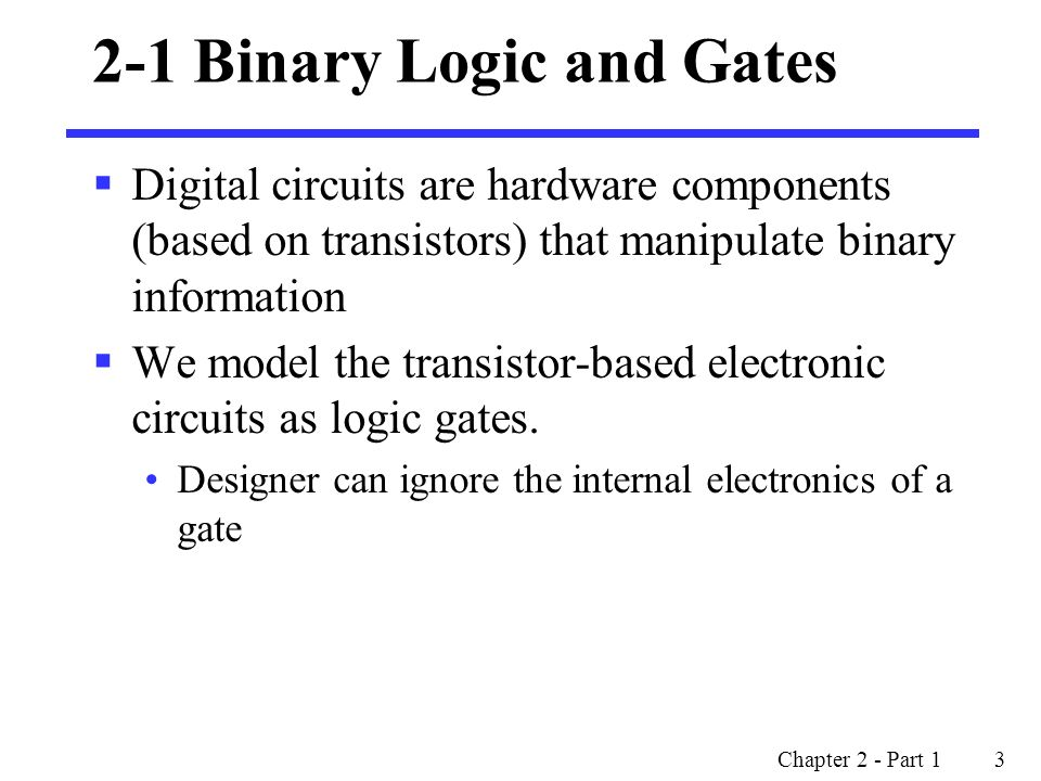 2-1 Binary Logic and Gates
