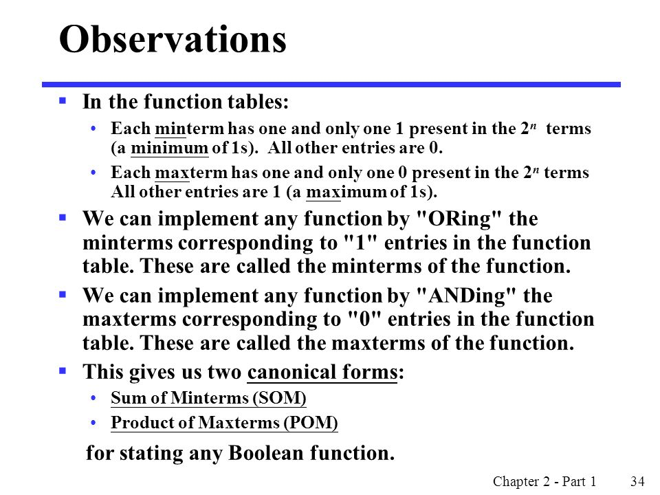 Observations In the function tables: