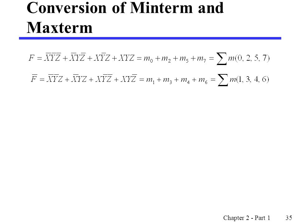 Conversion of Minterm and Maxterm