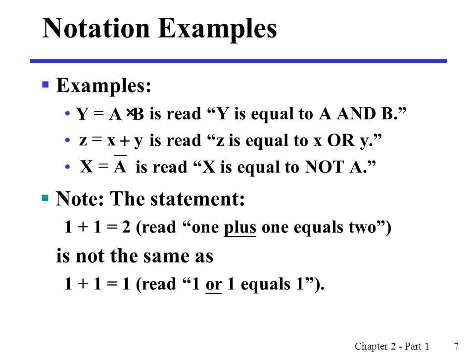 Notation Examples Examples: Note: The statement: is not the same as