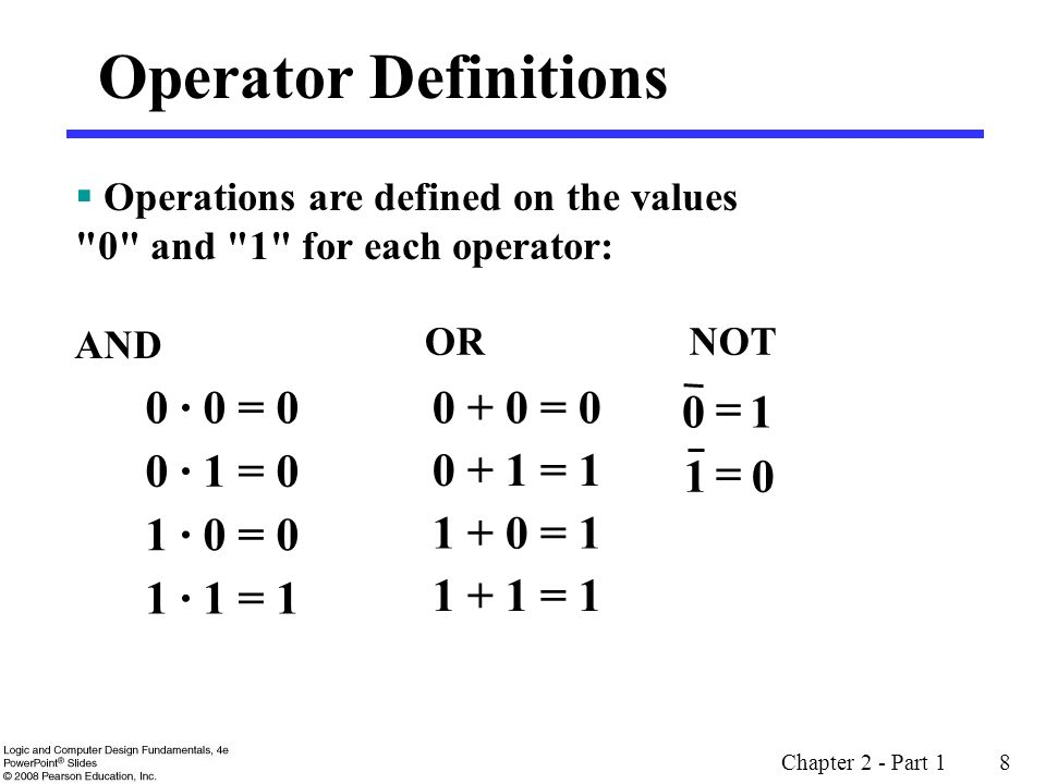 Operator Definitions 0 · 0 = 0 0 + 0 = 0 = 1 0 · 1 = 0 0 + 1 = 1