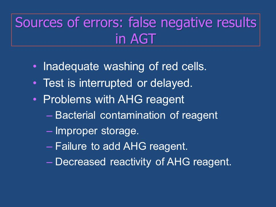 Sources of errors: false negative results in AGT