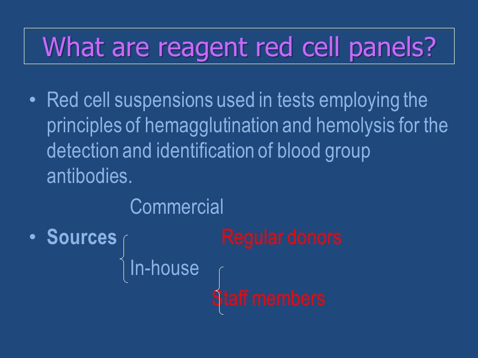What are reagent red cell panels