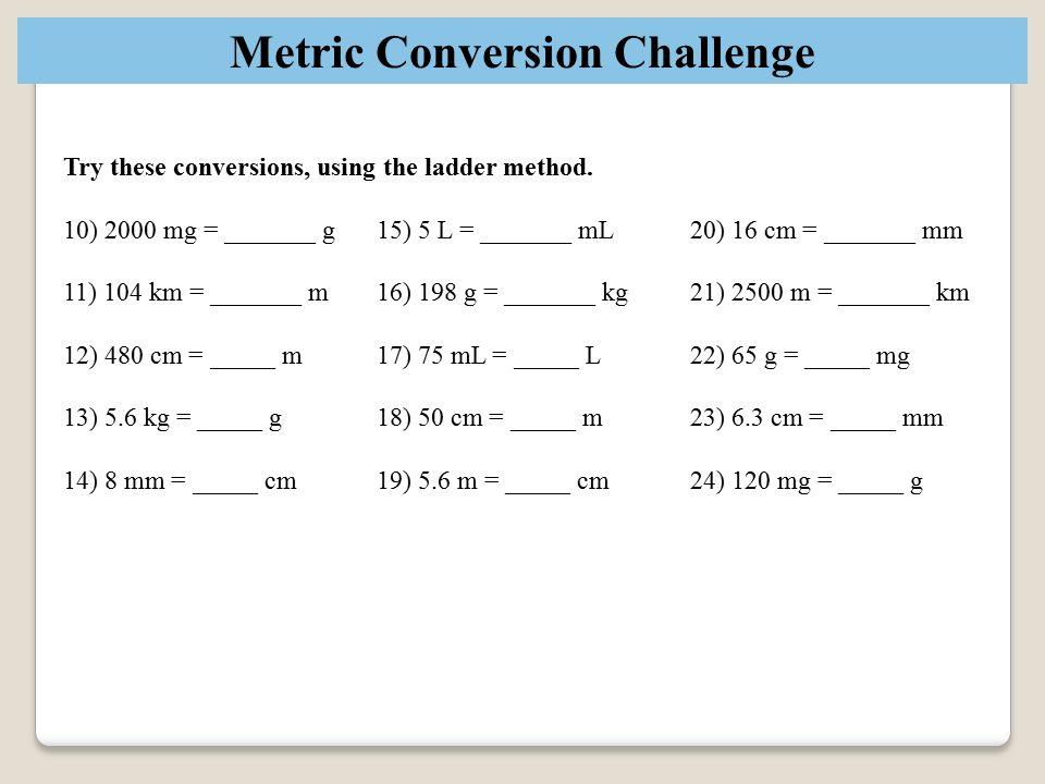 Metric Ladder Method | Worksheet | Education.com