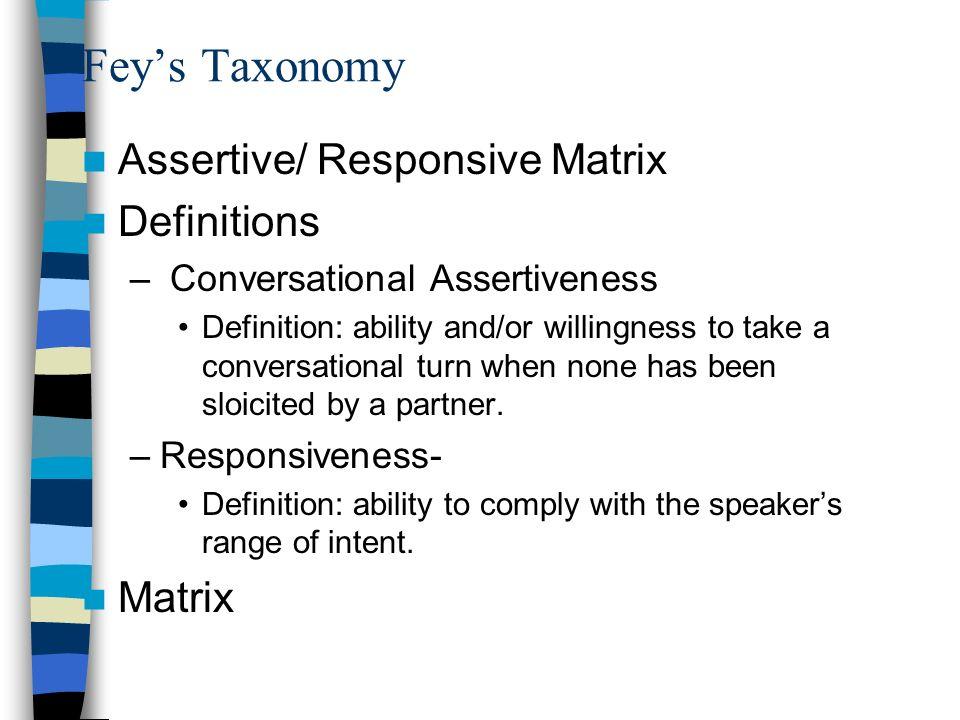 31 Feyu0027s Taxonomy Assertive/ Responsive Matrix Definitions Matrix