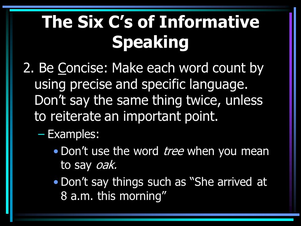 the importance of informative speaking Informative speech outline about nutrition i have been able to understand my topic more and make my audience aware of the importance of nutrition.