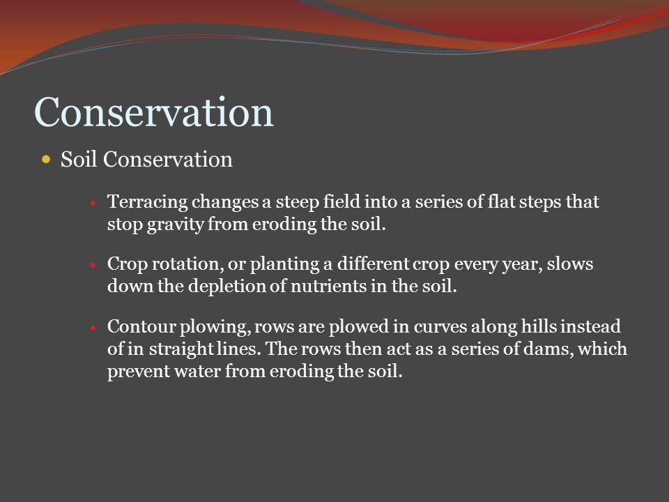 Human impact and conservation ppt video online download for Soil conservation act