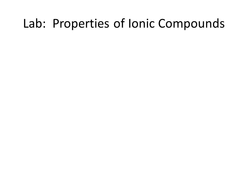 metallic ions lab report There are several ways to classify metal ions according to the solubility of the compounds they form with  at the next lab period, you will analyze group b .