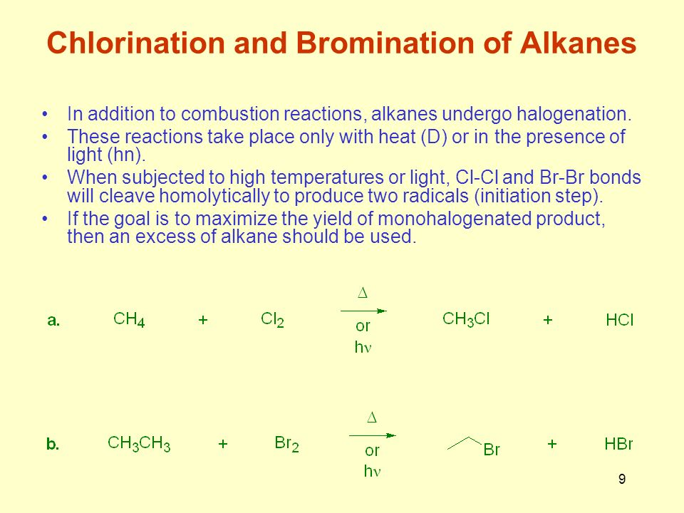 alkane chlorination Reactions of alkanes: radical chain halogenation radicals and  the  chlorination of alkanes involves a chain reaction mechanism chain reactions are.