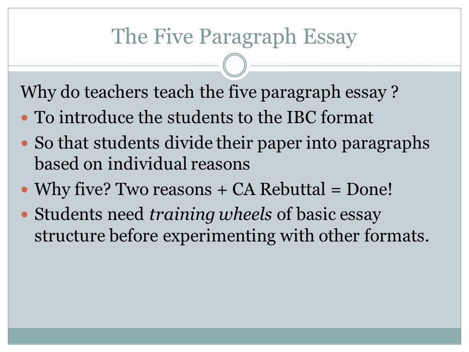 essay on why teach People have strong feelings about the five-paragraph essay for the past several decades, educators have debated the benefits and consequences of teaching the five-paragraph essay.