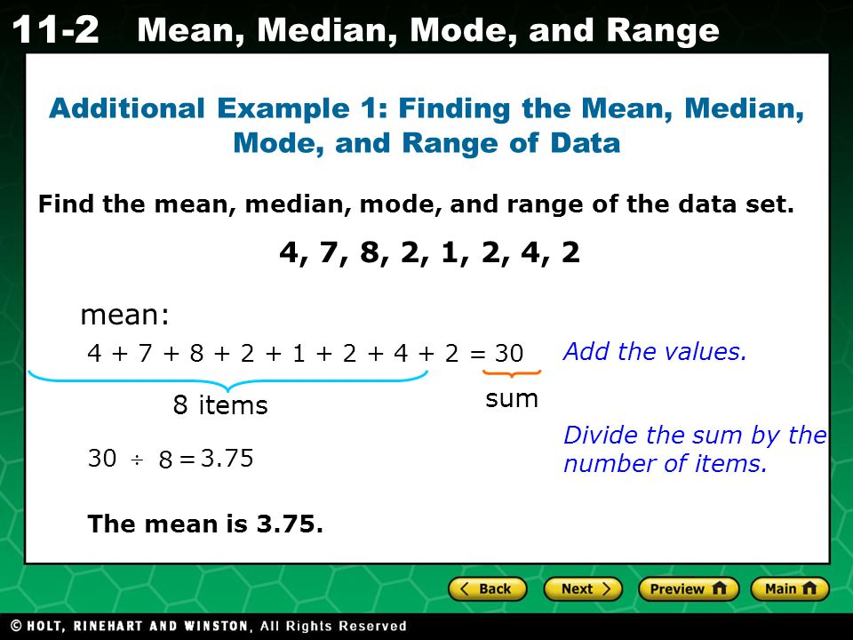 How to find the mean, median, mode and range
