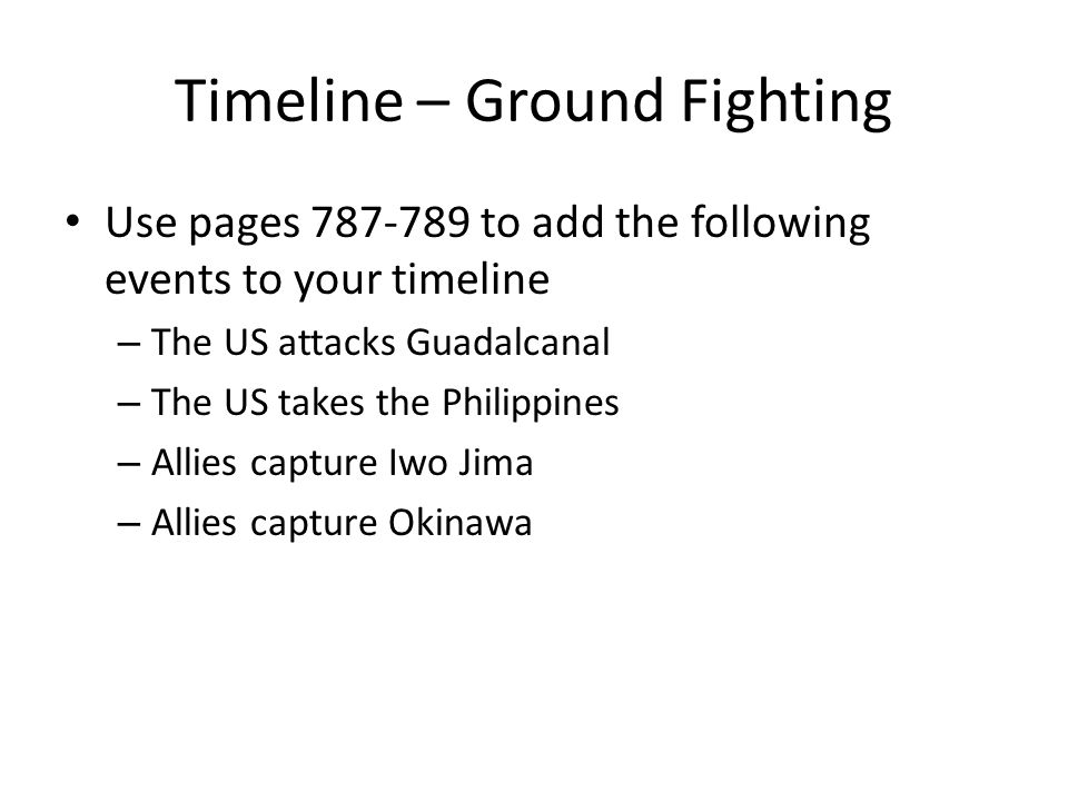 Timeline – Ground Fighting