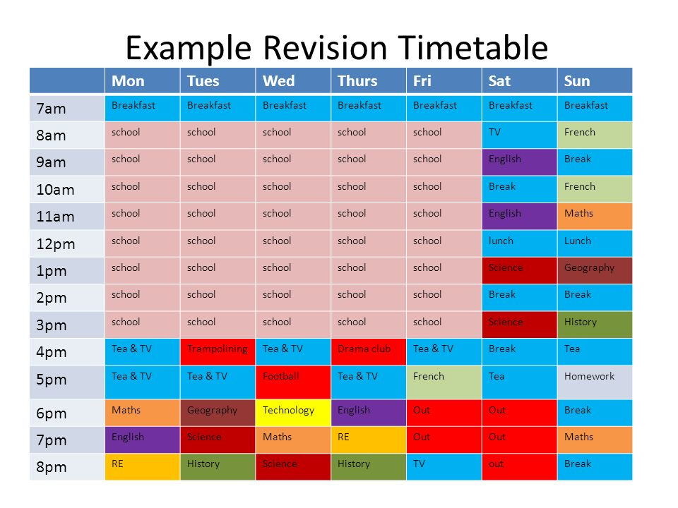 Sample Revision Timetable  CityEsporaCo