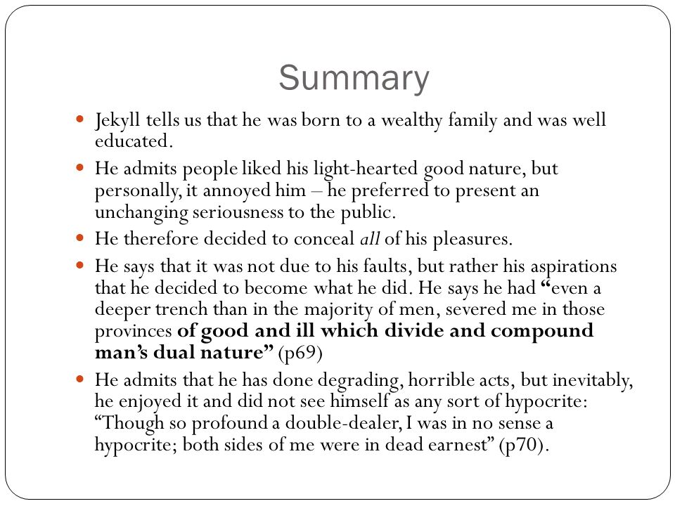 Jekyll and hyde brief summary