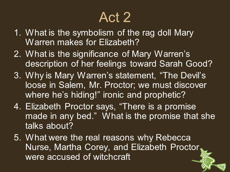 Crucible Act   Questions and Answers  Worksheets   Quiz   No Prep Study com Crucible Act I Study Guide Questions   Study Guide    What is the role of  Rebecca Nurse in the play How does she feel about the girls behavior