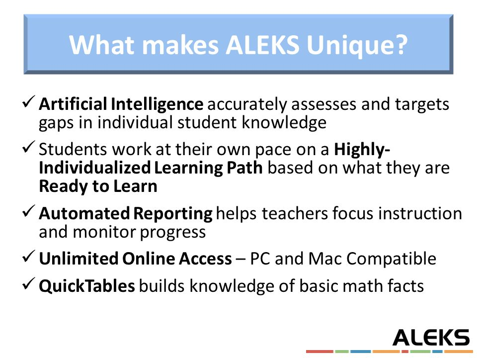 ALEKS is a Research-Based, Online Math Program for grades 3-12 www ...