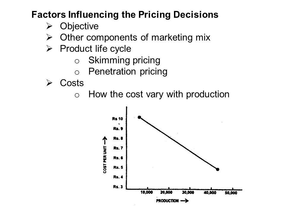 factors influence on pricing decisions The main internal factors that influence the price decisions are: marketing objectives, marketing strategy and costs – each of these factors will be discussed below marketing objectives the overall plan is for the brand will significantly influence how the product is priced in the marketplace.