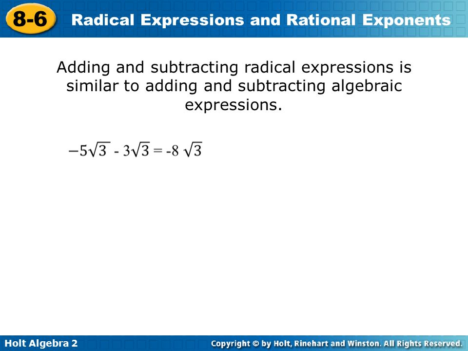 Radical Expressions And Rational Exponents Worksheet 8 6 The – Radical Worksheet