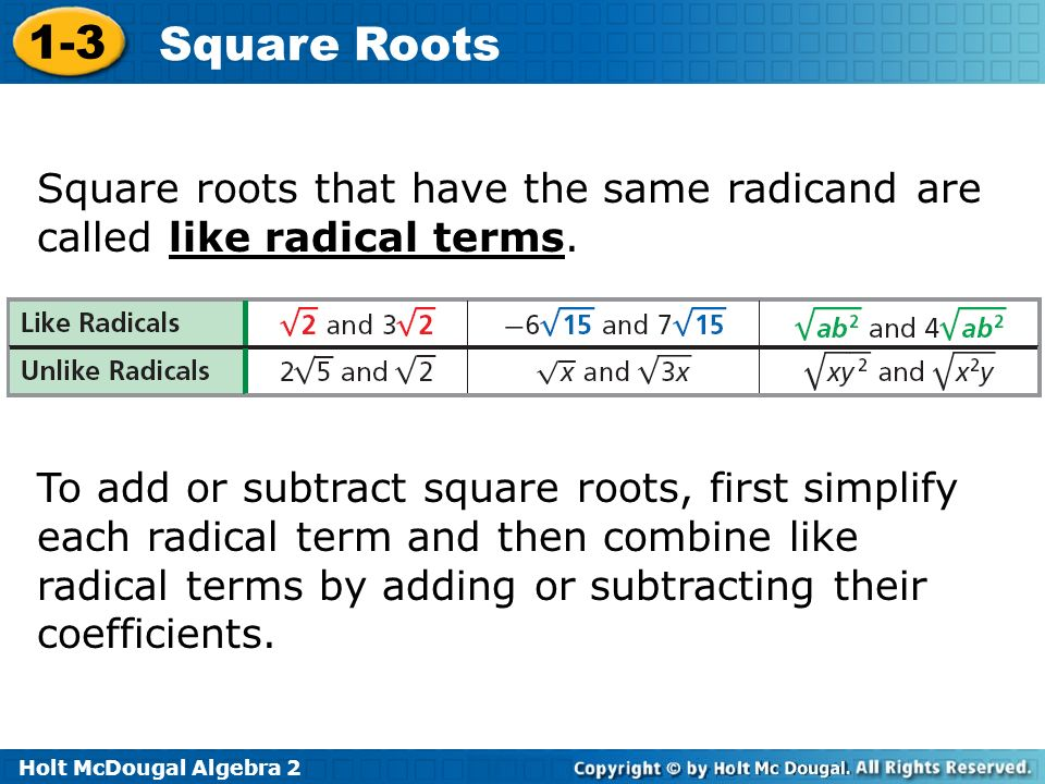 math worksheet : 1 3 square roots warm up lesson presentation lesson quiz  ppt  : Adding And Subtracting Square Roots
