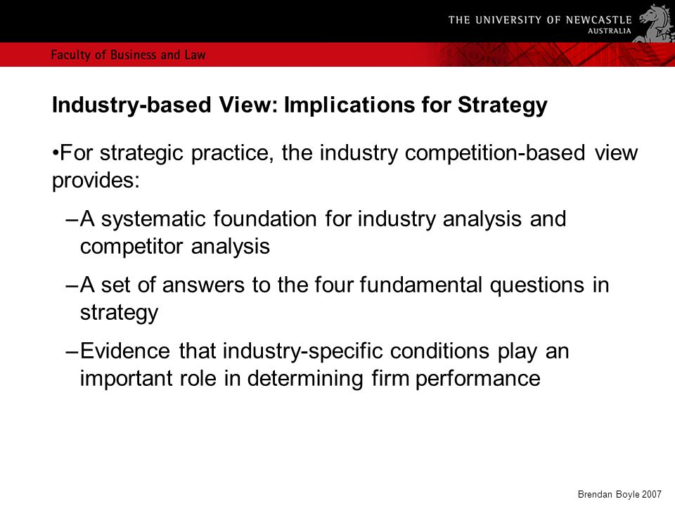 industry based view Critics suggest that the industry-based view has the five forces framework and the resource-based view converges on the vrio framework, yet what specific propositions or frameworks does the.