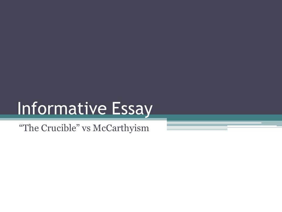 the crucible mccarthyism essay The following essay is from my junior year of high school that i wrote in american  literature/english class in 2002 i found it today while.