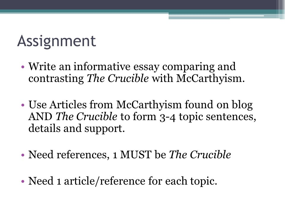 the crucible vs mccarthyism essay