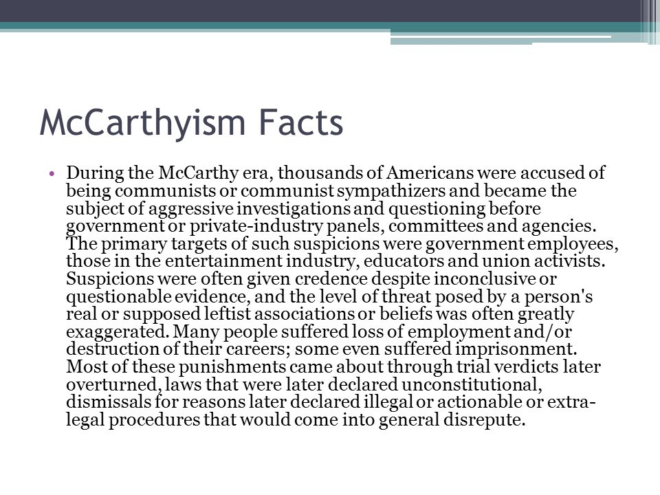 a comparison of mccarthyism and the crucible Freebooksummarycom ✅ in the mid 1900's america was plunged into a state of  panic the american government and the american public were terrified at the.