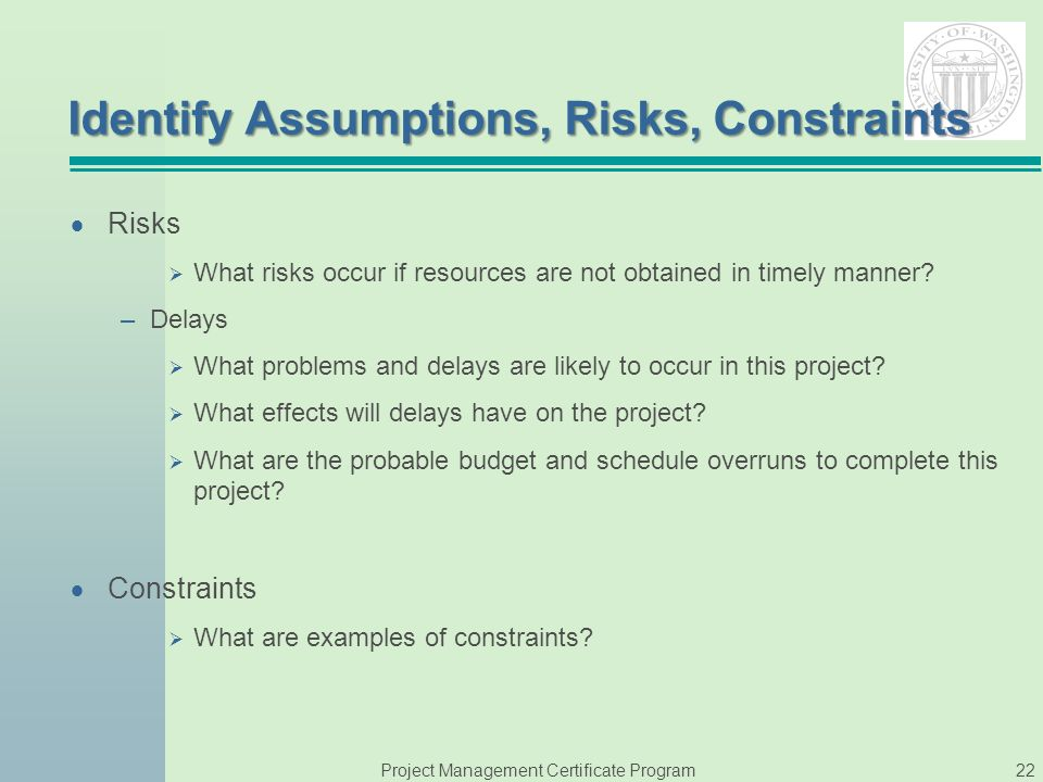 project constraints and assumptions essay example Constraints in project management essay  constraints in project management a project is a task or a set of tasks that have to be completed within a time and resource constraint - constraints in project management essay introduction it has a definite time interval, a cost budget and a scope.