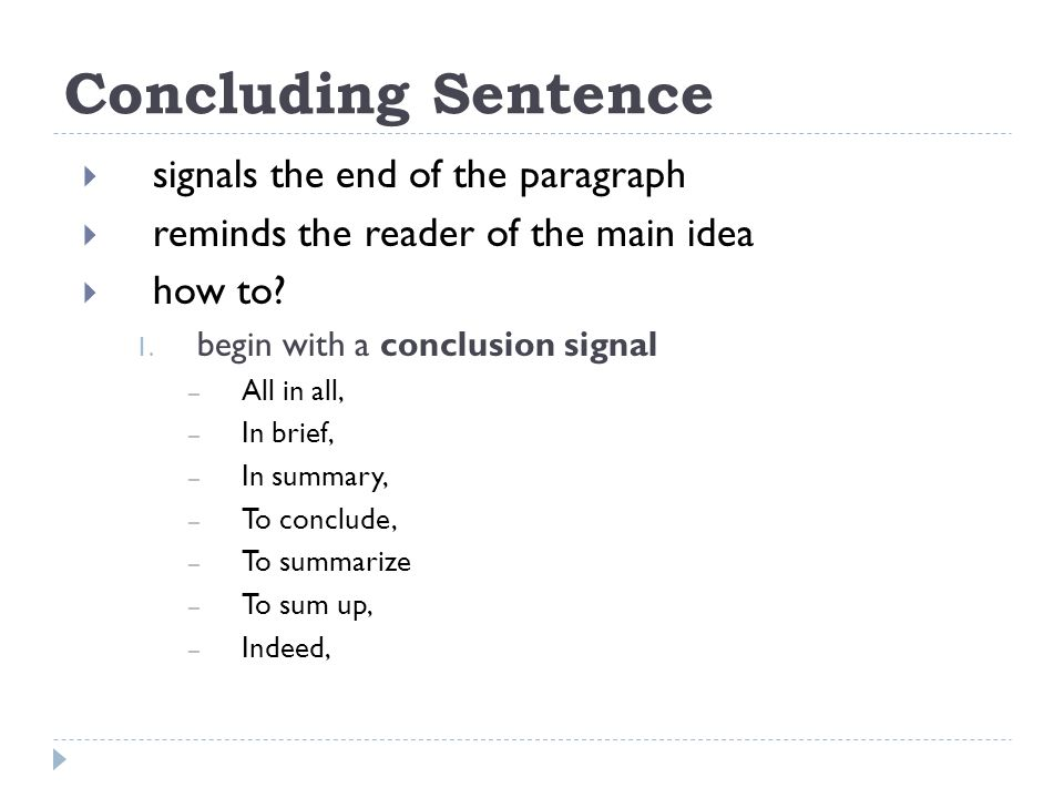 how to write a summary sentence for a paragraph