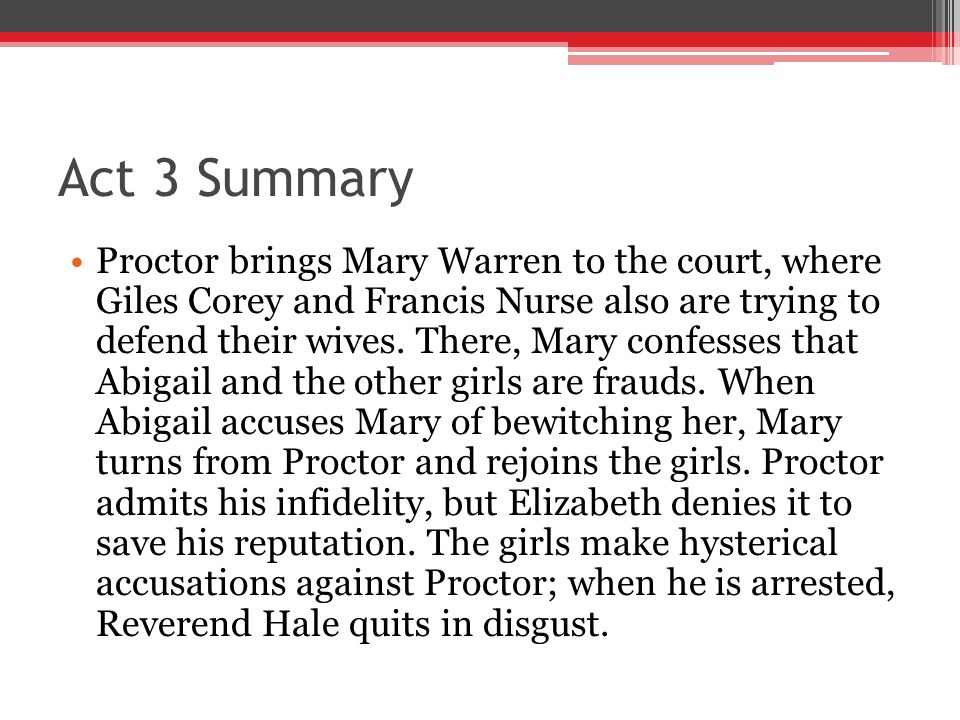 the internal battles of mary warren john proctor and reverend hale in the crucible by arthur miller English 11-december final exam-the crucible   in the crucible, reverend hale was brought to salem to do  what does proctor want mary warren to tell the court .
