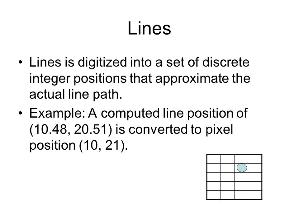 Lines Lines is digitized into a set of discrete integer positions that approximate the actual line path.