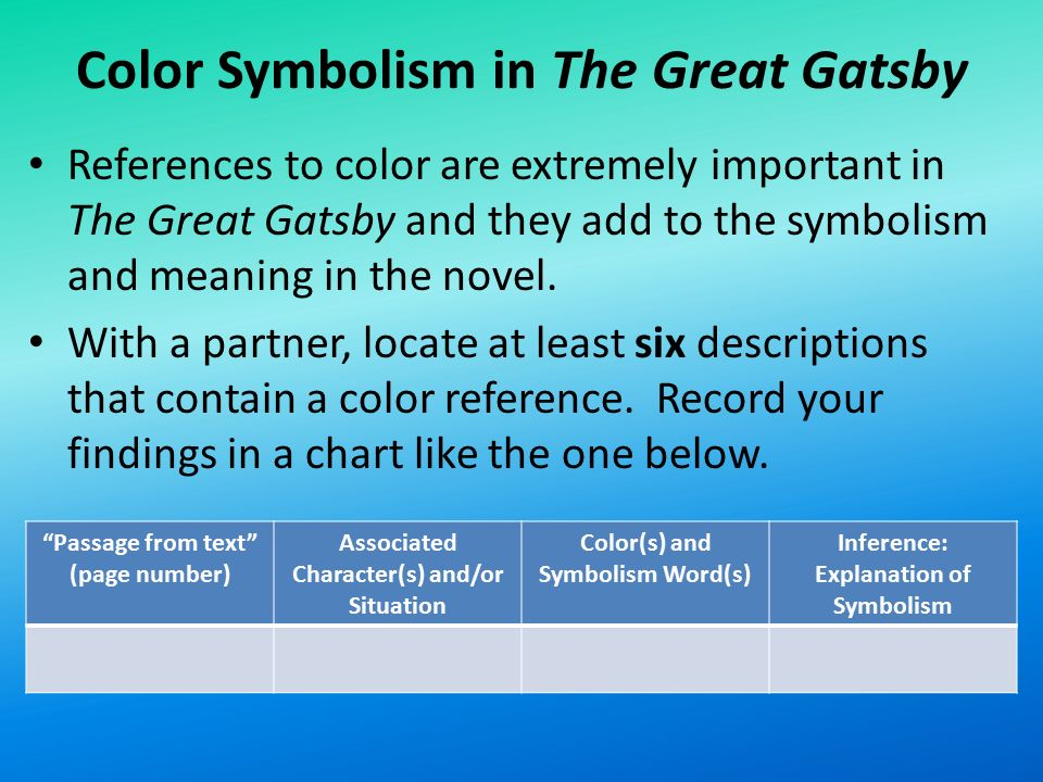 "color symbolism in the great gatsby essay Free critical essay example on great gatsby symbolism introduction symbols are usually referred to as ""objects, characters, or colors used to represent."