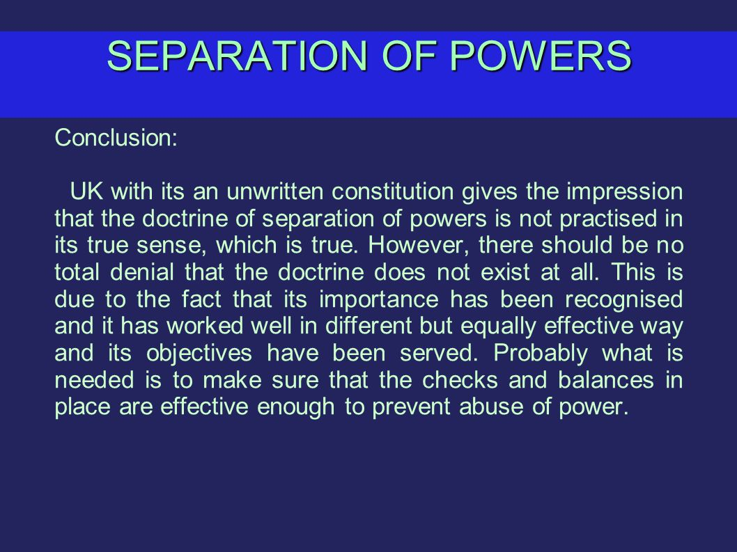 separation of powers in the uk essay