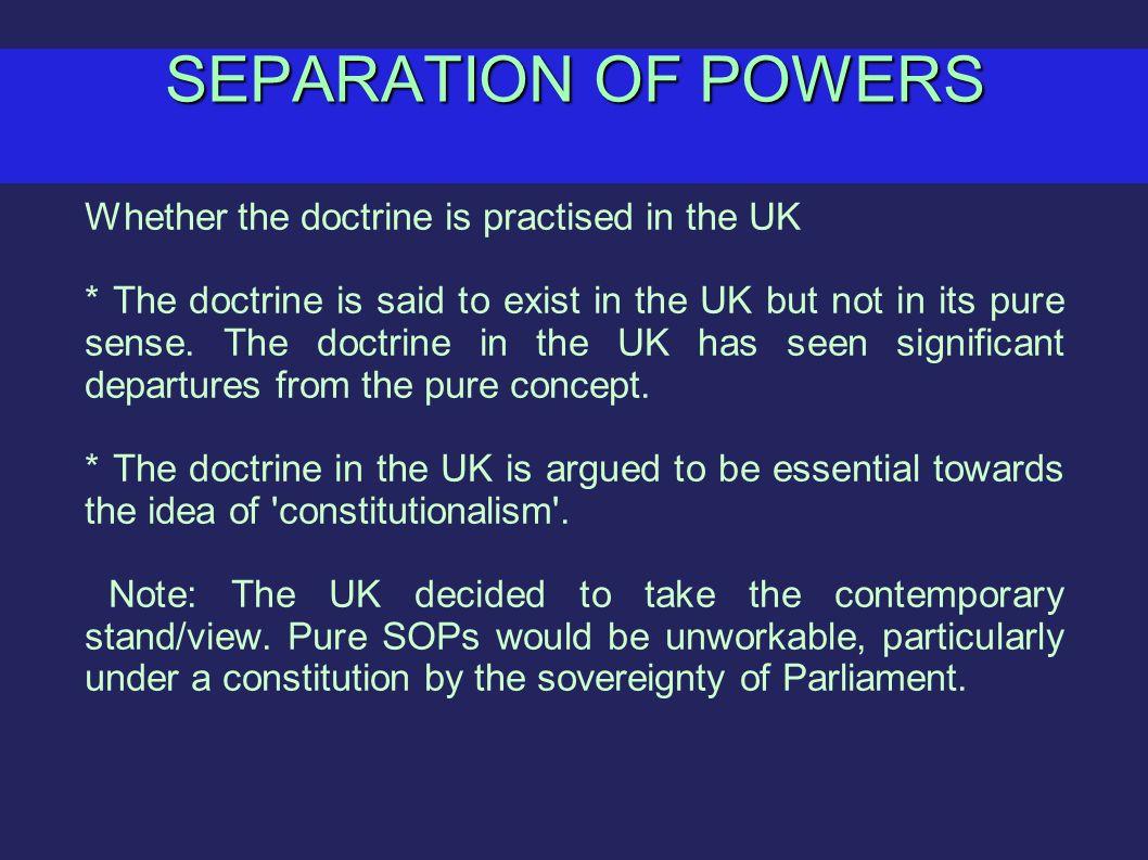 Separation of Powers – Government Essay