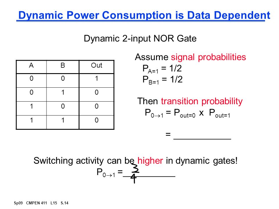 cmos nor gate on dynamic state essay In static cmos design, at every point in time, each gate output is connected to either vdd or vss via a low-resistance path also, the outputs of the gate assume at all times the value of the boolean function implemented by the circuit[15.