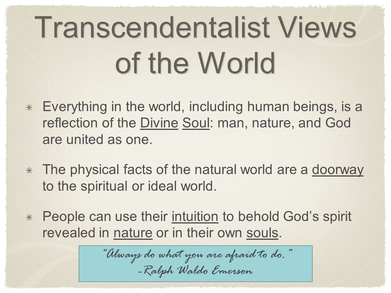 facts and the negative views of transcendentalism College prep english iii search this site welcome to american literature syllabus works in the dark romantic spirit were influenced by transcendentalism dark romanticism views it in a much more sinister light than does transcendentalism.