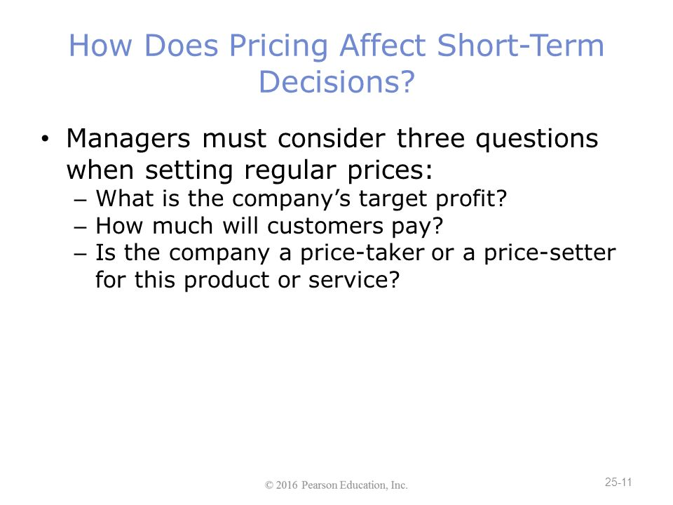 setting product or service prices Setting value, not price competitors' offerings and setting the right price amount for a particular product or service the price of the average.
