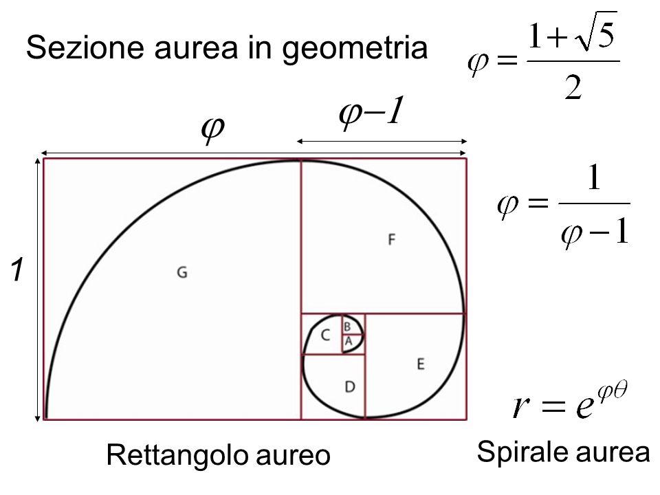 j-1 j Sezione aurea in geometria 1 Spirale aurea Rettangolo aureo