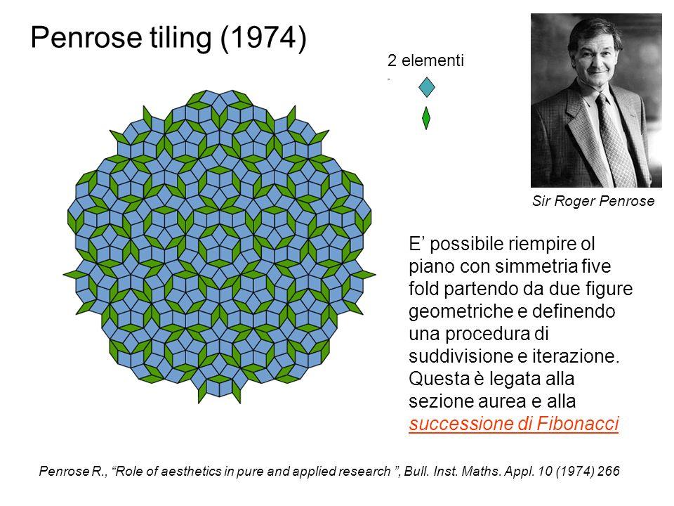Penrose tiling (1974)2 elementi. Sir Roger Penrose.