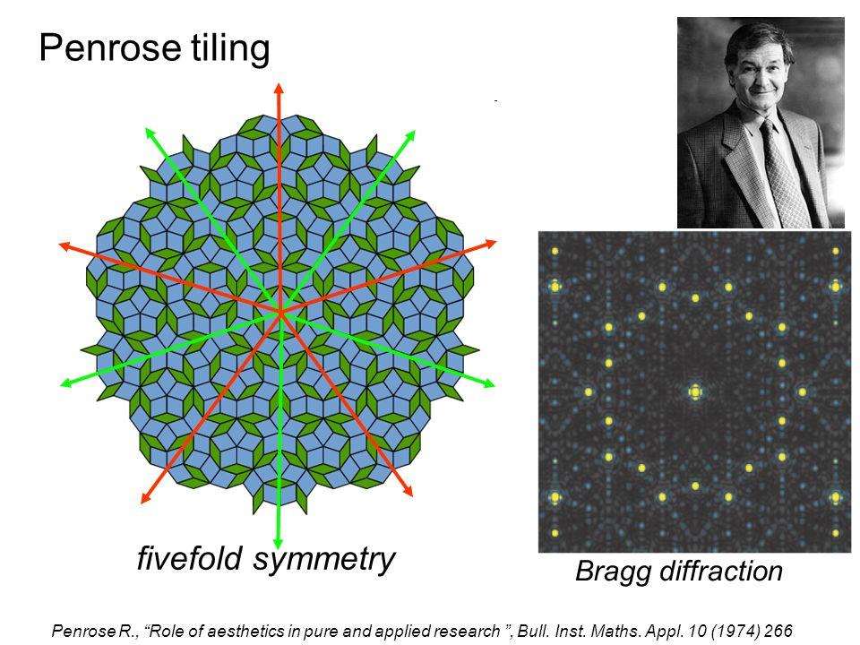 Penrose tiling fivefold symmetry Bragg diffraction