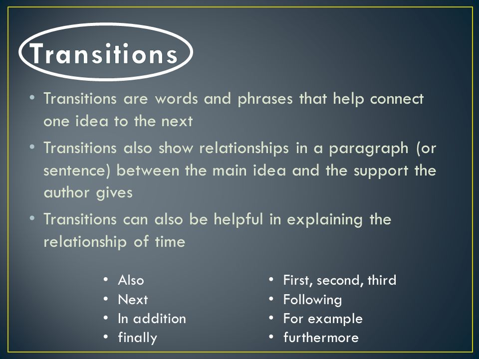 transition words help you Transition words make your writing sound professional, effective transition phrases and words will help you build a logically clear structure of the essay.