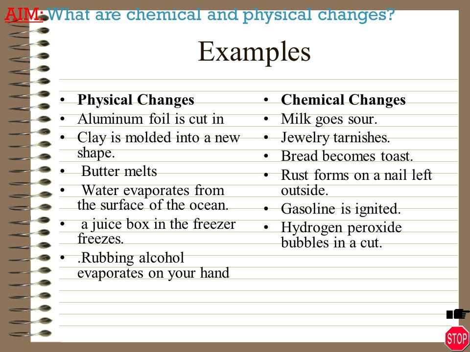 Examples Of Chemical And Physical Changes Images Example Cover